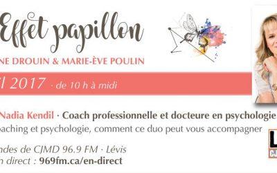 Mme Nadia Kendil, coach professionnelle et docteure en psychologie à la radio de CJMD (Lévis)